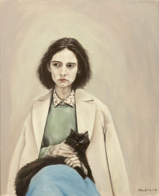 Christina Michalopoulou-girl with a cat-theartspace.gr